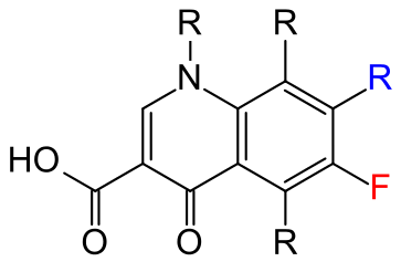 Essential structure of all quinolone antibiotics: the blue drawn remainder of R is usually piperazine; if the connection contains fluorine (red), it is a fluoroquinolone.