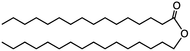 Chemical structure of wax cetyl palmitate