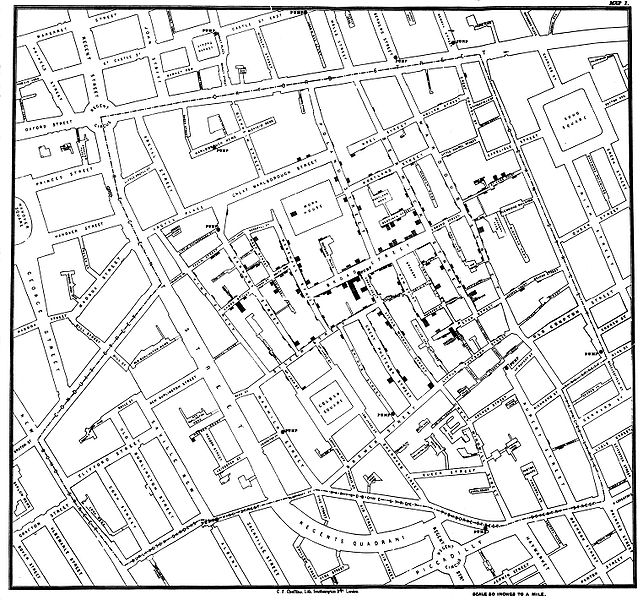 Map by John Snow showing the clusters of cholera cases in the London epidemic of 1854.