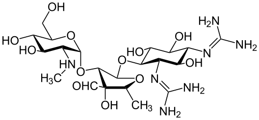 Chemical structure of streptomycin, an aminoglycoside.