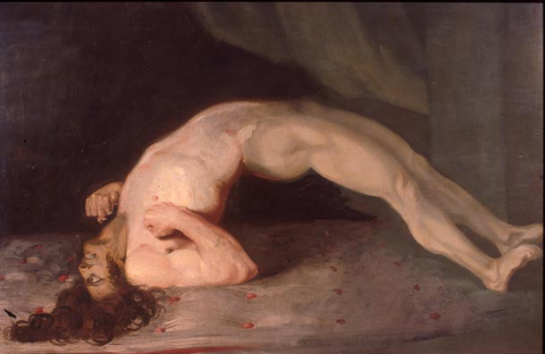Muscular spasms in a patient suffering from tetanus. Painting by Sir Charles Bell, 1809.
