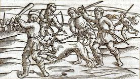 Woodcut from the Middle Ages Showing a Rabid Dog