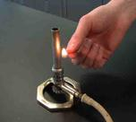 Bunsen Burner Being Safely Lit With a Match