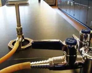 Bunsen Burner Connected to Gas Supply with Rubber Tube