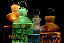 Different Color Flasks with Chemicals